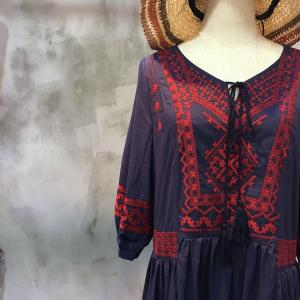Beautiful Embroidery Puff Sleeve Nice Beach Dress Travelling Maxi Dress