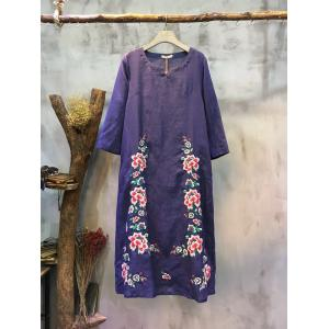 High-Quality Flower Embroidery Customized Dress Chinese Vintage Designer Dress