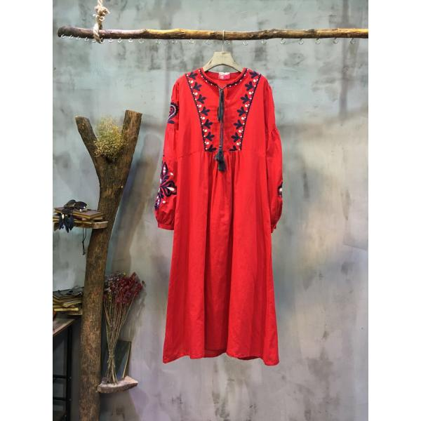 High-Quality Big Flowers Embroidery Chinese Dress Puff Sleeve Vintage Dress