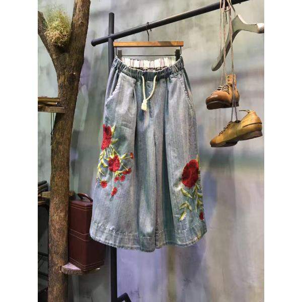 Spring Drawstring Flowers Embroidered Jeans Beautiful Wide Leg Trousers