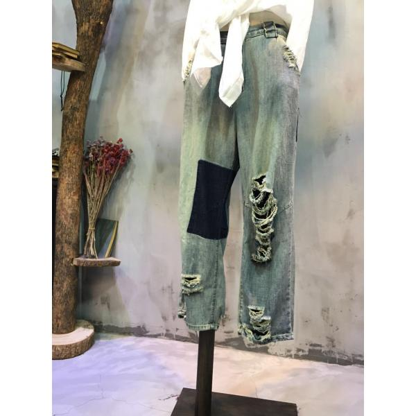 New Arrival Patchwork Ripped Jeans Baggy Jeans Fashion 2017