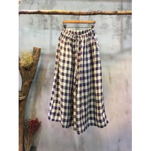 Casual Style Womans Little Plaid Pants Wholesale Comfortable Wide-Leg Pants
