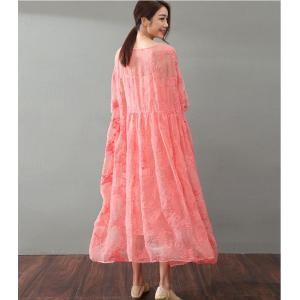 Vintage Style Flowers Embroidered Silk Dress Elegant Maxi Dress With Long Camisole