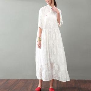 Vintage Style Folk Buttons Jacquard Dress Plus Size Chinese Dress
