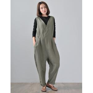 Front Zip V-Neck Linen Overalls Vertical Striped Loose Jumpsuits