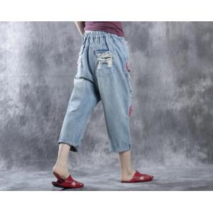 Fashion Rose Print Ripped Jeans Womans Denim Cropped Pants