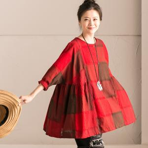 Loose-Fitting Grid Print Cotton Linen Red T-shirt Womans Casual Wear
