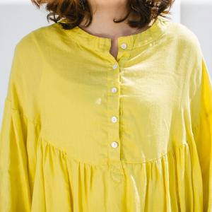 Youthful Puff Sleeve Linen Summer Dress Half Single-Breasted Yellow Dress