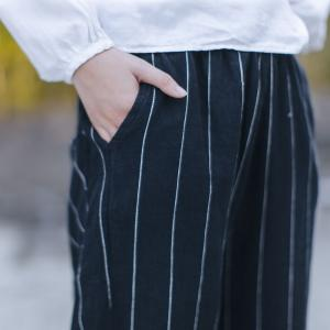 Latest Fashion Vertical Striped Linen Pants Casual Black Linen Clothing