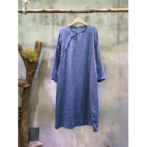 Slanted Chinese Buttons Vintage Designers Dress Linen Loose Cheongsam