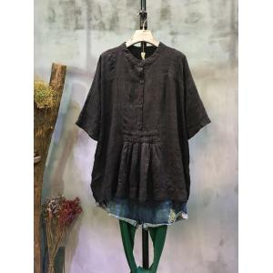 New Arrival Single-Breasted Doll Blouse Oversize Pleated Blouse