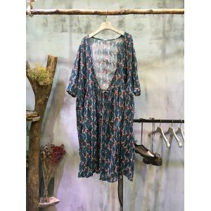 Spring Prints Long Draped Cardigan Loose Linen Senior Womans Clothing