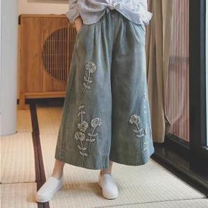 Best-Selling Stereo Embroidery Wide-Leg Pants Denim Baggy Pants