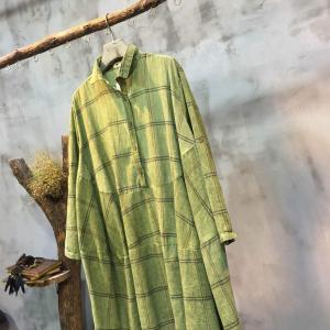 Mori Girl Loose–Fitting Plaid Blouse Natural Linen Doll Blouse