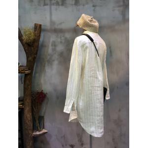 Casual Style Vertical Stripes Long  Blouse Loose Linen White Dress