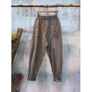 Casual Style Womans Plaid  Pants Wholesale Cotton Linen Trousers