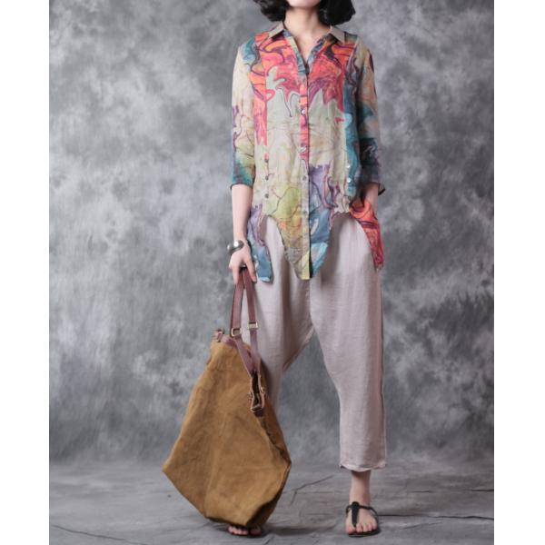 Artistic Print Lace-Up Womans Linen Blouse Loose Elegant Shirt