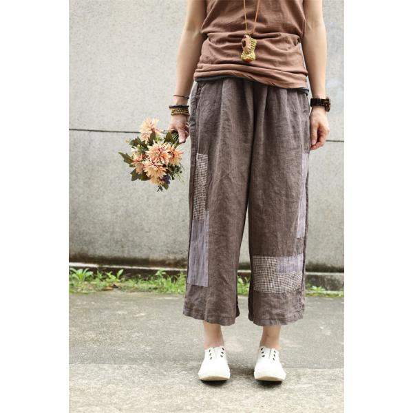 2017 Summer Cloth Patchwork Linen Pants Ethnic  Palazzo Pants