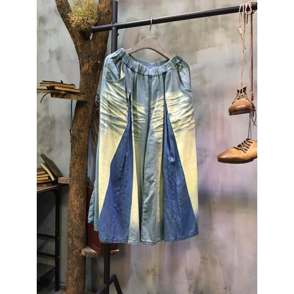 Blue Contrast Denim Matching Baggy Jeans Fashion Palazzo Pants