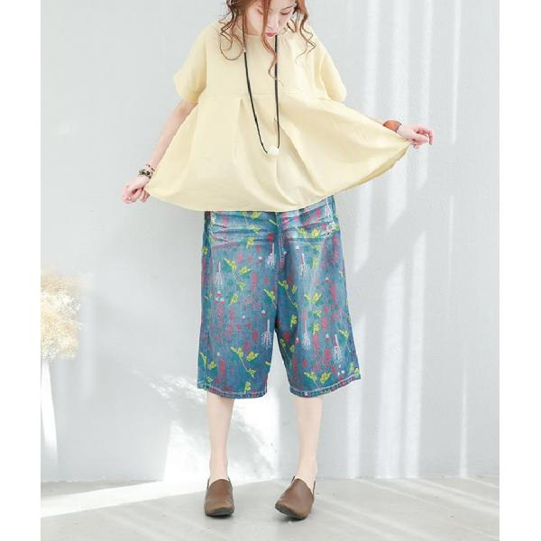 Colorful Denim Floral Harem Trousers Womans Baggy Ripped Jeans