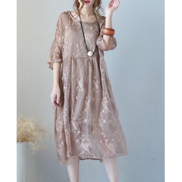 Plus Size Embroidered Dress Transparent Elegant Silk Dress With