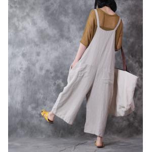 758775db066 2017 Latest Fashion Plus Size Linen Overalls Wide Leg Korean Jumpsuits