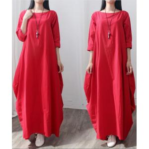 Holiday Style  Linen Plus Size Dress Elegant Maxi Swing Dress