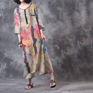Beach Style Abstract Print Baggy Dress V-Neck Linen Holiday Dress