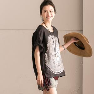 Loose-Fitting Annual Ring Print Tshirt Short Sleeve Casual Tee