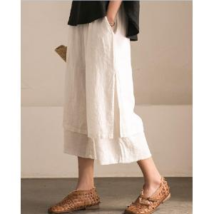 Elastic Waist Layered Linen Pants Womans Casual Trousers