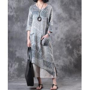 New Arrival V-Neck Striped Shirt Dress Linen Summer Tunic  Dress With Belt