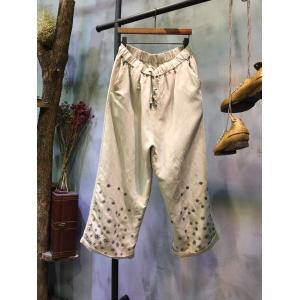Casual Style Drawstring Floral Linen Pants Summer Wide Leg Trousers