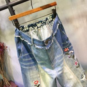 2017 Latest Flowers Embroidered Jeans Raw Hem Denim Wide Leg Pants