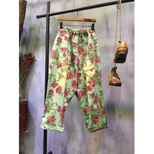 2017 Spring Rose Print Harem Pants Denim Baggy Trousers