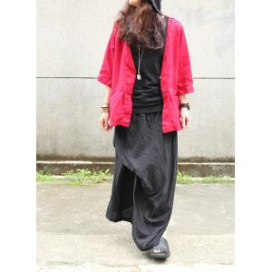 High-End Linen Loose Cardigan V-Neck Plain Top