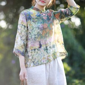 New Arrival Chinese Button Ethnic Blouse Silk Linen Print Top