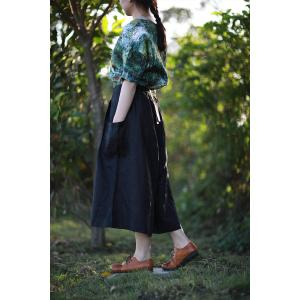 Solid Color Vertical Pockets Linen Palazzo Pants Summer Flowy Pants