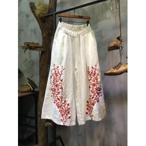 High-Quality Floral Embroidered Palazzo Pants Linen Wide Leg White Pants