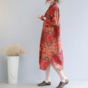 2017 Vintage Print Chinese Ethnic Dress Cotton Linen Customized Dress