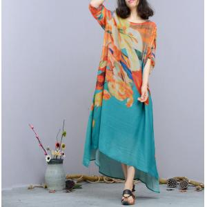 Ethnic Style Flowers Print Silk Maxi Dress Asymmetric Designer Dress