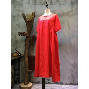 High-Quality Plus Size Hand Embroidered Dress Linen Chinese Dress