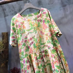 Loose-Fitting Flowers Print Summer Dress Linen Senior Woman Dress