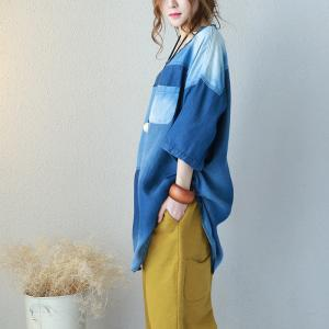 Blue Contrast Chest Pocket Baggy Top Oversized Denim Blouse