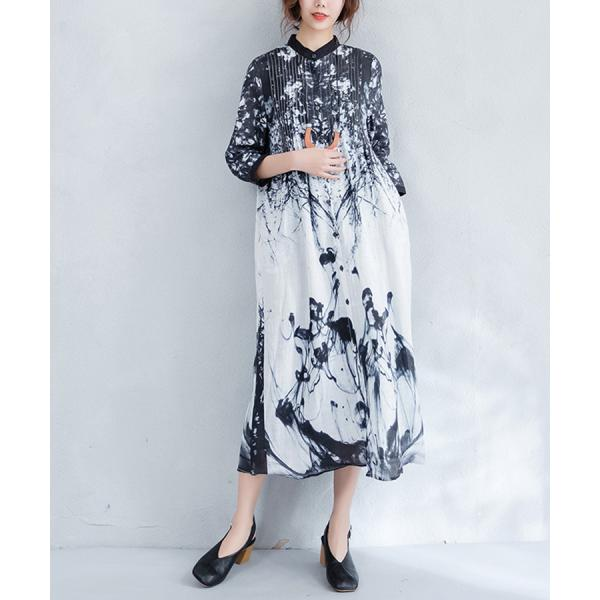 Ink Painting Elegant Slim-Fit Shirt Dress Linen Chinese Dress