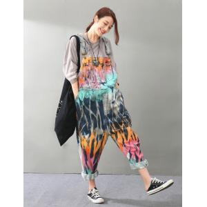 Street Fashion Color Print Denim Overalls Front Pockets Harem Jumpsuits