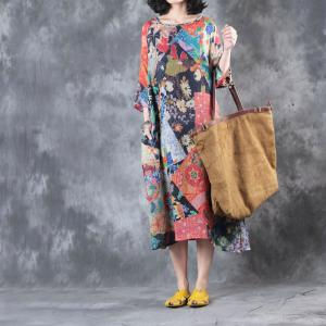 Folk Style Vintage Flowers Print Chinese Dress Oversized Linen Ethnic Dress