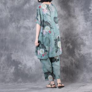 Over50 Style Vintage Flowers Print Loose Top With Linen Comfortable Trousers