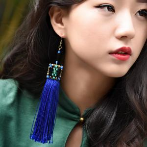 New Arrival Royal Blue Vintage Tassel Earrings Chinese Agate Ear Pendants