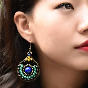 Ethnic Style Colorful Agate Earrings Folk Designer Accessories