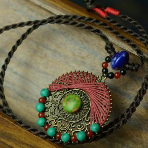 2017 Summer Hand Knitting Bohemian Necklace Agate Chain Neckalce